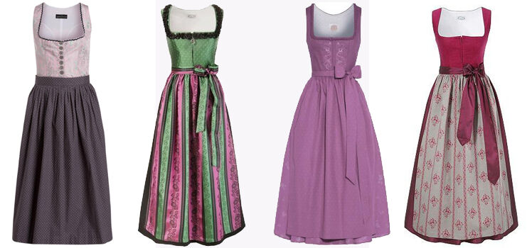 Rosa Dirndl lang traditionell