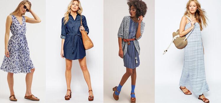 Blaues Kleid mit braunen Schuhen