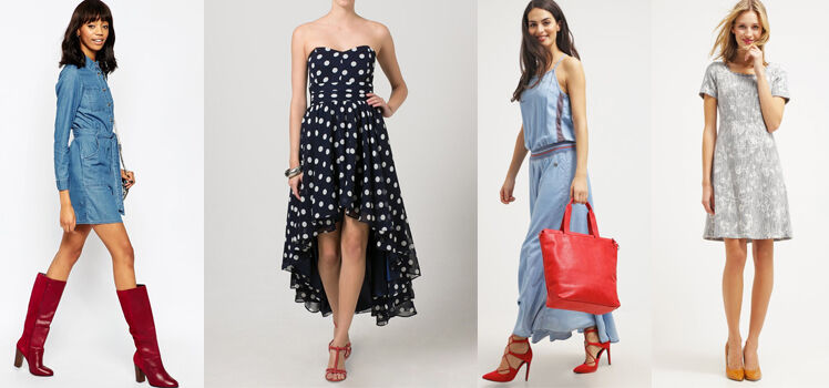 Blaues Kleid mit roten Schuhen