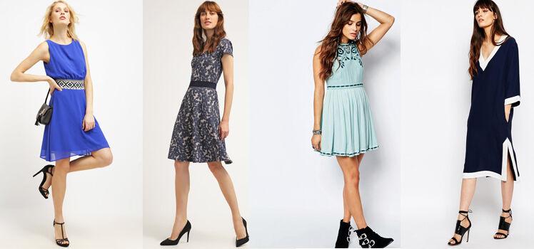Blaues Kleid mit schwarzen Schuhen