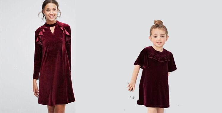 Mutter-Tochter-Kleid-Weihnachten
