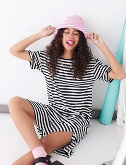 – Gestreiftes T-Shirt-Kleid im Oversize-Stil-Mehrfarbig