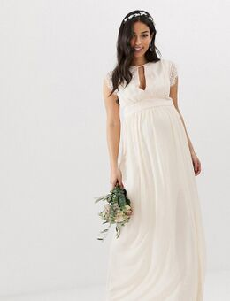 – Maxi-Brautjungfernkleid in Perlrosa mit Spitzenbesatz