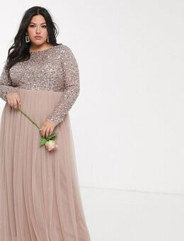 – Bridesmaid – Langärmliges Maxi-Tüllkleid mit V-Ausschnitt hinten und zarter Pailletten-Oberlage in Taupe-Hellrot-Braun