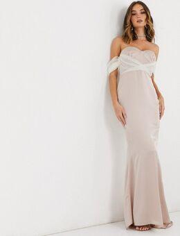 – Brautjungfernkleid mit Ärmeldetail aus Organza in Champagner-Beige