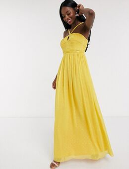 – Maxikleid in Gold gepunktet mit Zierfalten-Gelb