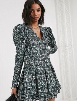 Inspired – Kleid mit Puffärmeln und abstraktem Karomuster-Mehrfarbig